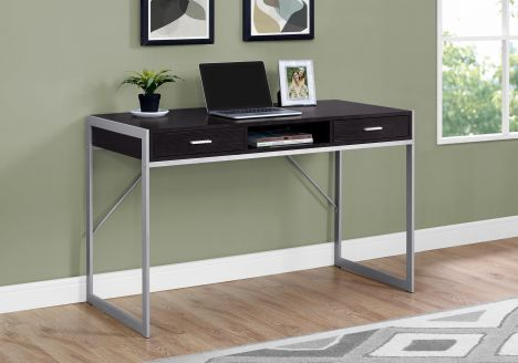 Compact Cappuccino & Silver Metal Computer Desk w/ 2 Drawers