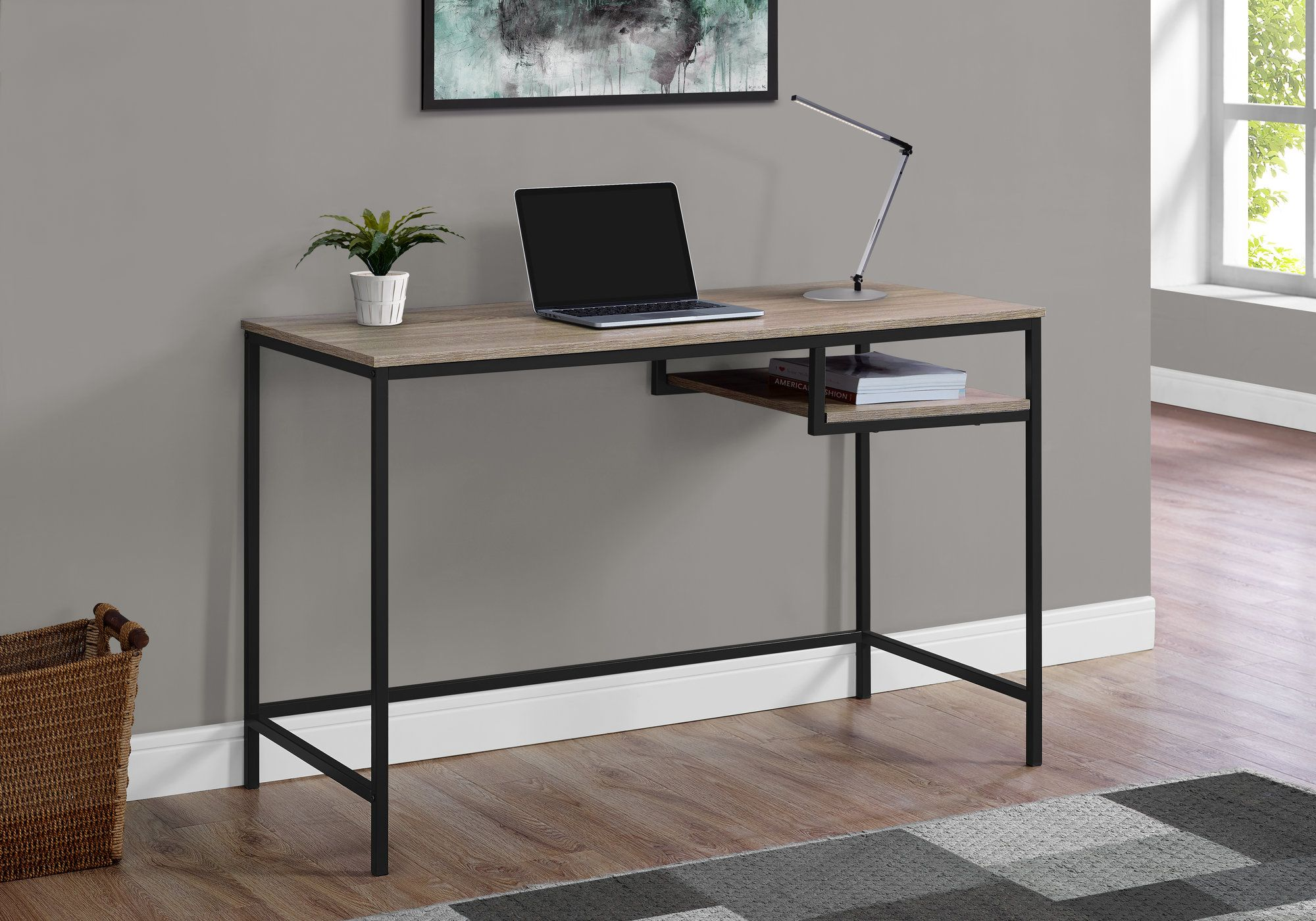 "48"" Computer Desk in Taupe & Black"