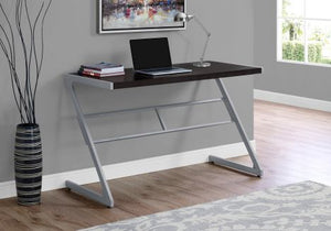 "Sophisticated Cappuccino & Silver 48"" Office Desk w/ Z-Design"