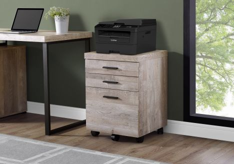Taupe Woodgrain Filing Cabinet w/ 3 Drawers