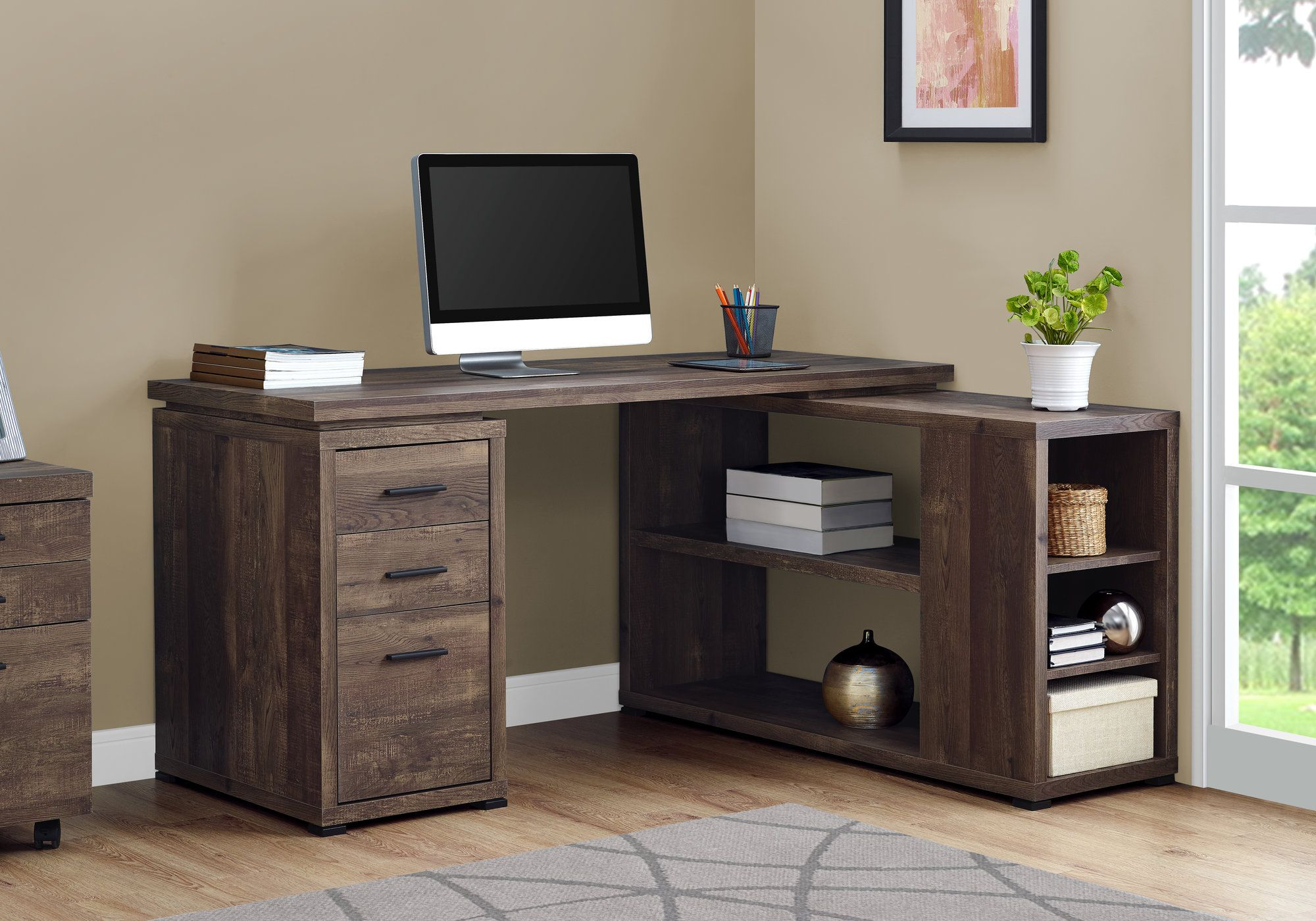 "60"" L-Shaped Office Desk in Brown Woodgrain"