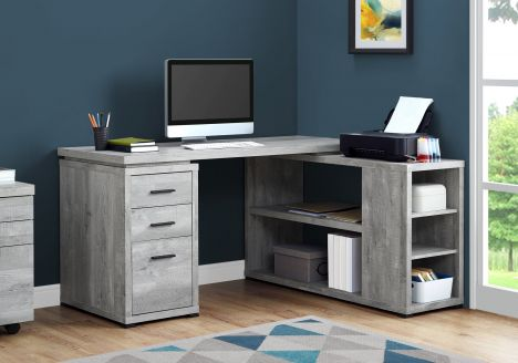 "60"" L-Shaped Office Desk in Grey Woodgrain"