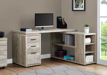 "Load image into Gallery viewer, 60"" L-Shaped Office Desk in Soft Taupe Woodgrain"
