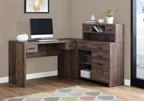 "L-Shaped 63"" Computer Desk in Dark Brown Woodgrain"