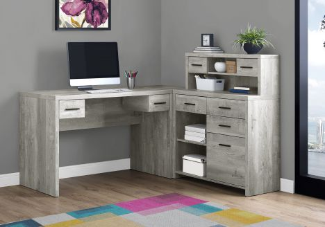 "L-Shaped 63"" Computer Desk in Grey Woodgrain"