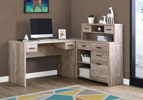 "L-Shaped 63"" Computer Desk in Taupe Woodgrain"