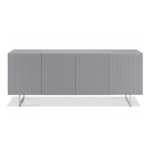 "79"" Storage Credenza with Wave Textured Doors in Gray"