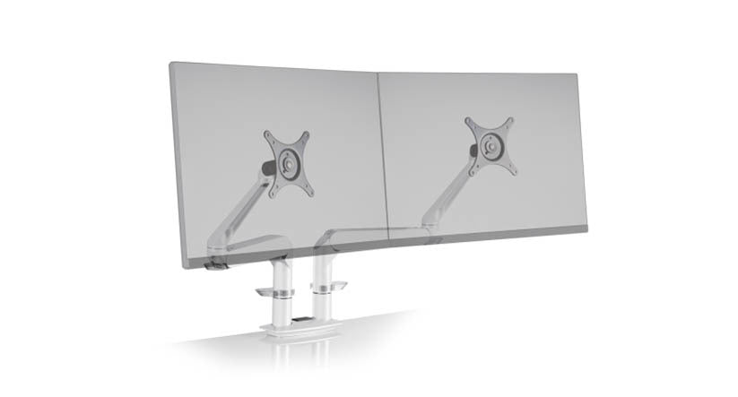 Evo Premium Dual Monitor Arm in White, Gray, or Black