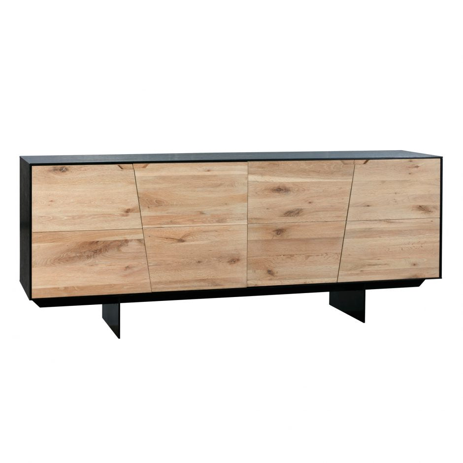 "79"" Striking Oak Door Storage Credenza"