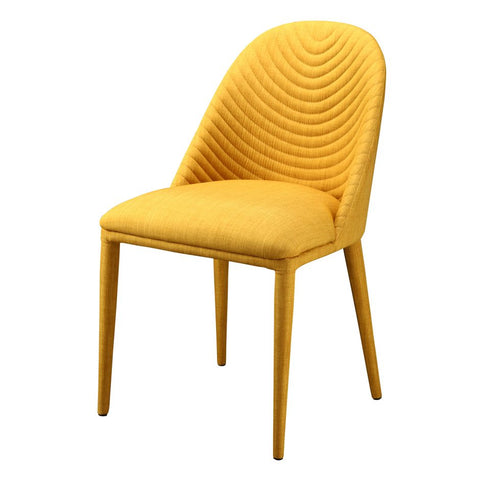 Yellow Guest or Conference Chair with Seam-Patterned Back (Set of 2)