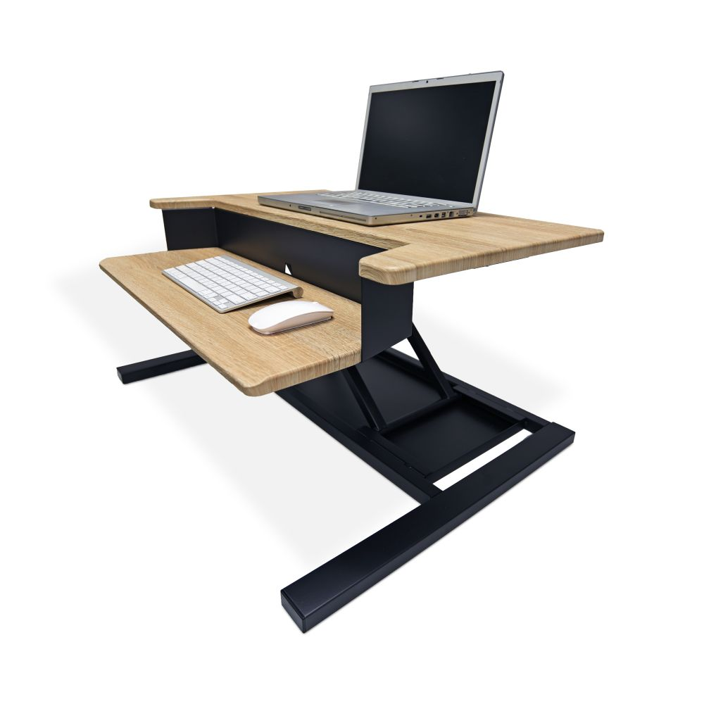 Classic Black and Wood Veneer Desk Riser