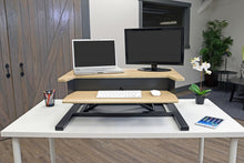 Load image into Gallery viewer, Classic Black and Wood Veneer Desk Riser
