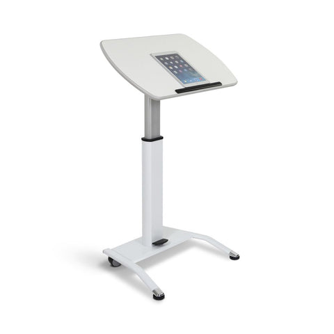 Pneumatic Height & Tilt Adjustable White Lectern