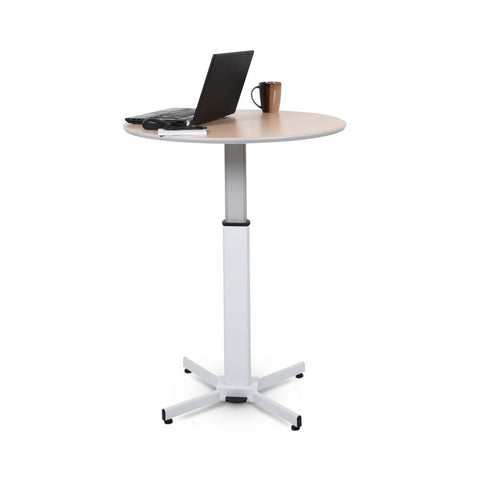 "36"" Round Pneumatic Sit-Stand Tan Meeting Table"