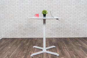"31"" Square Pneumatic Sit-Stand White Meeting Table"