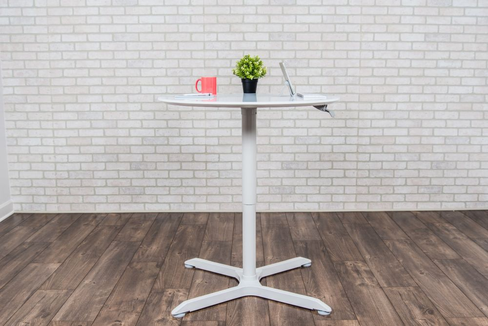 "36"" Square Pneumatic Sit-Stand White Meeting Table"