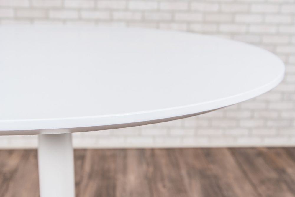 "31"" Round Pneumatic Sit-Stand White Meeting Table"