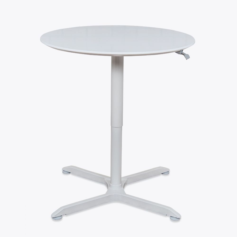 "36"" Round Pneumatic Sit-Stand White Meeting Table"