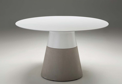 "White Solid Surface 63"" Meeting Table with Epoxy Cement Base"