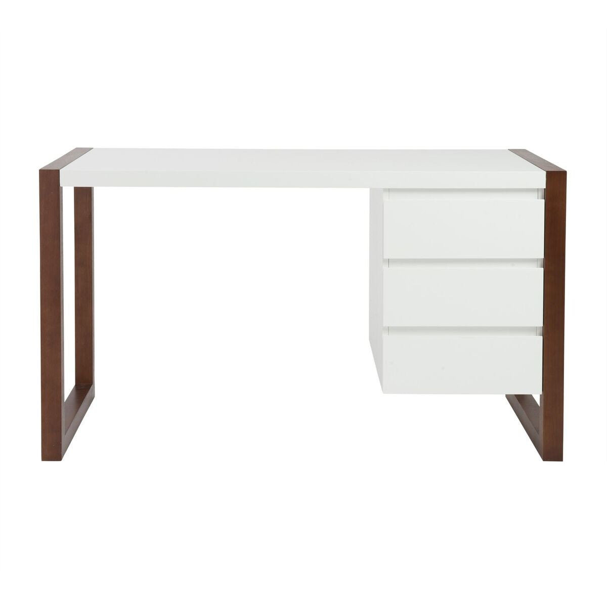 "51"" Matte White Lacquer & Dark Walnut Desk with Drawers"