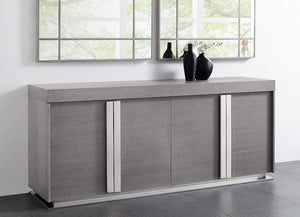 Gray Oak Veneer Storage Credenza with Polished Stainless Steel