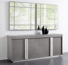 Load image into Gallery viewer, Gray Oak Veneer Storage Credenza with Polished Stainless Steel