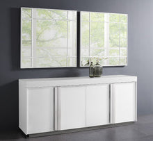 Load image into Gallery viewer, White High-Gloss Storage Credenza with Polished Stainless Steel