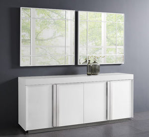 White High-Gloss Storage Credenza with Polished Stainless Steel