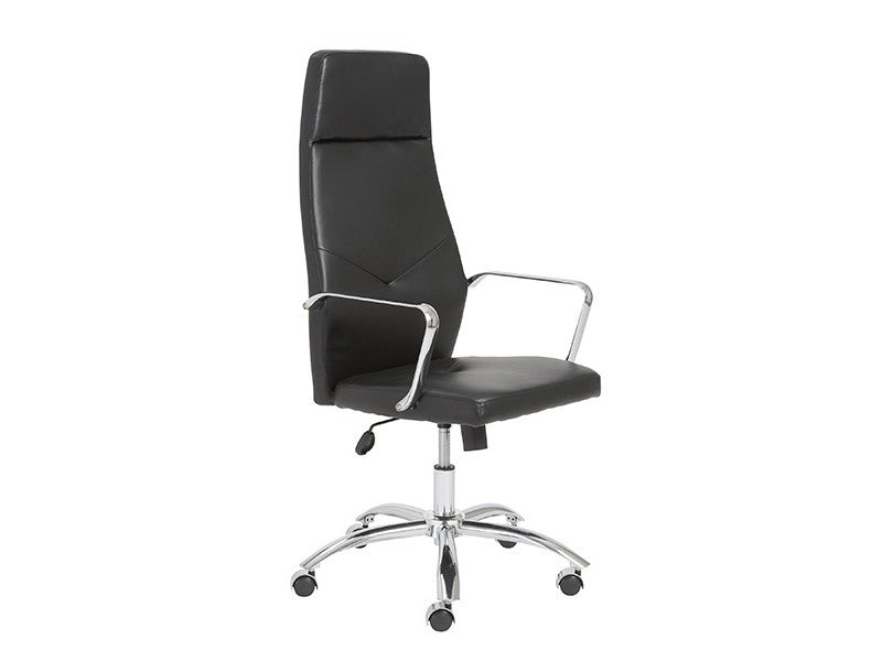 Regal Black High Back Office Chair with Chrome Frame