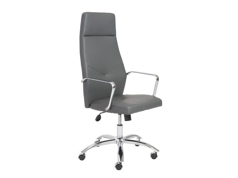 Regal Gray High Back Office Chair with Chrome Frame