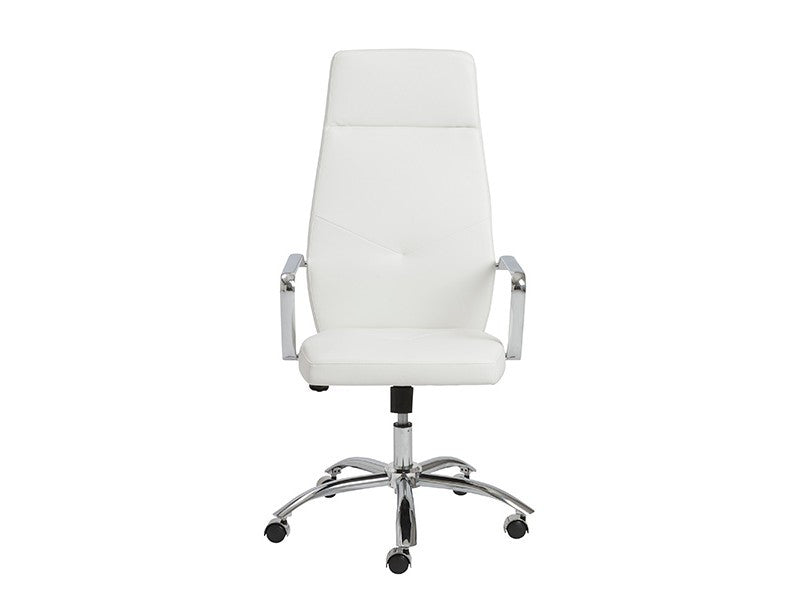 Regal White High Back Office Chair with Chrome Frame