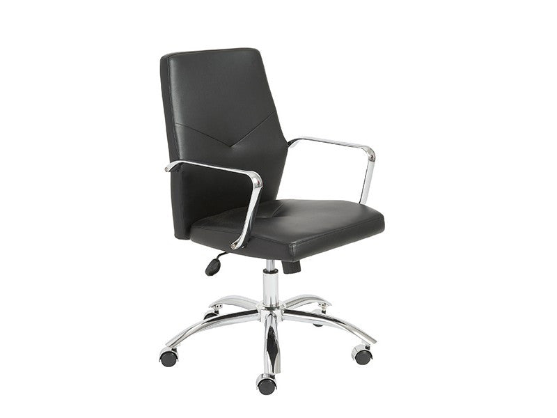 Elegant Black Low Back Office Chair with Chrome Frame