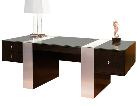 "78"" Modern Executive Office Desk in Wenge & Brushed Aluminum Laminate"