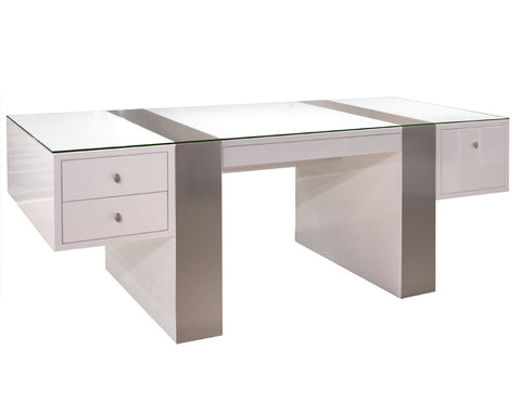 Premium Modern Desk in White Lacquer & Brushed Aluminum Laminate