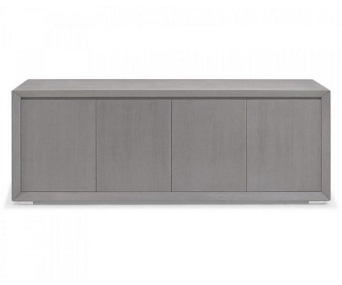 Gray Oak Veneer Storage Credenza with Stainless Steel Base