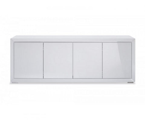 White Lacquer Storage Credenza with Stainless Steel Base
