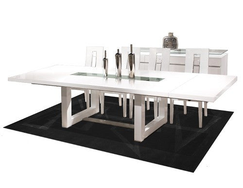 Modern White Lacquer Conference Table with Inlaid Glass (Extends from 84