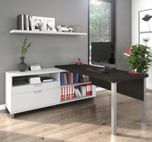 Load image into Gallery viewer, Premium Modern L-shaped Desk in Deep Gray & White