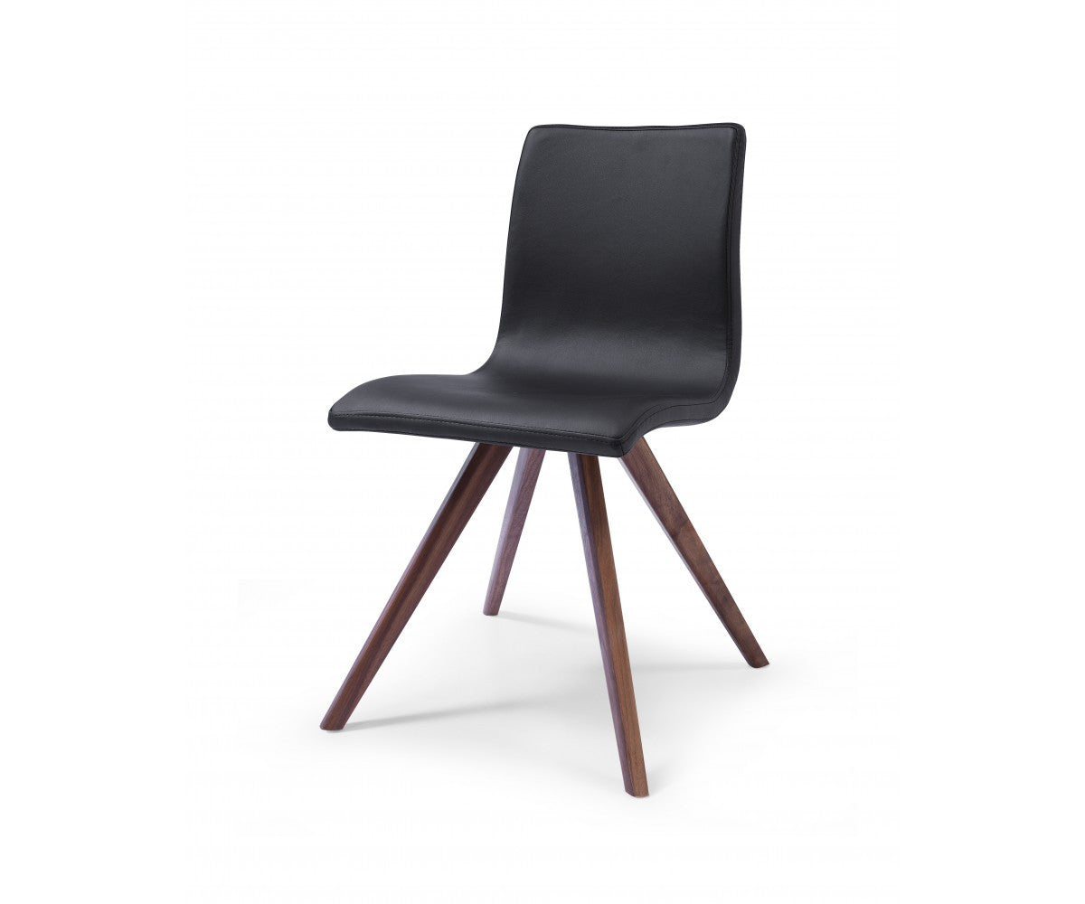Modern Leather Office or Conference Chair with Solid Wood Legs in Black (Set of 2)