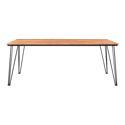"Teak Wood and Stainless Steel 79"" Meeting Table or Executive Desk"