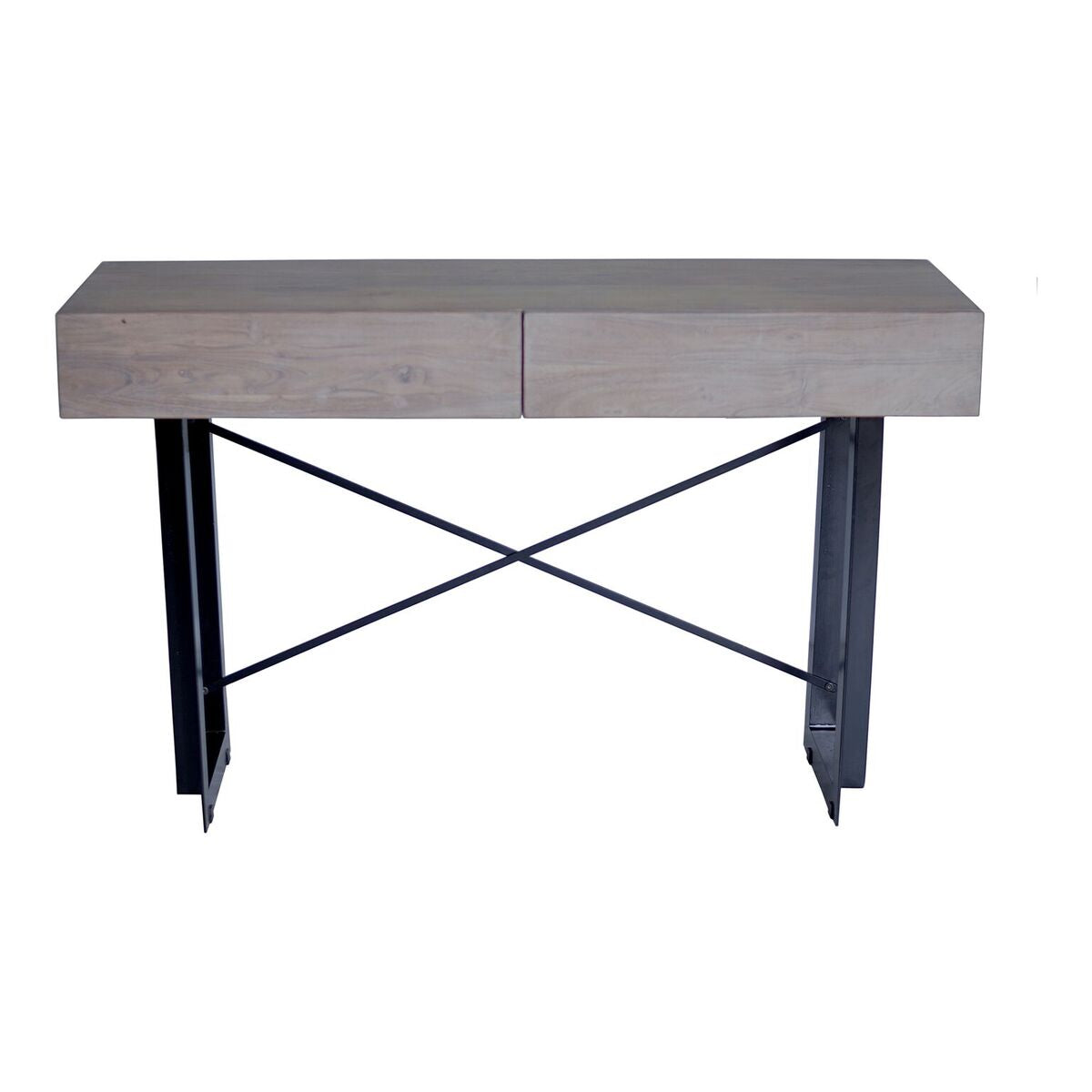"52"" Modern Pale Grey Solid Acacia Executive Desk"