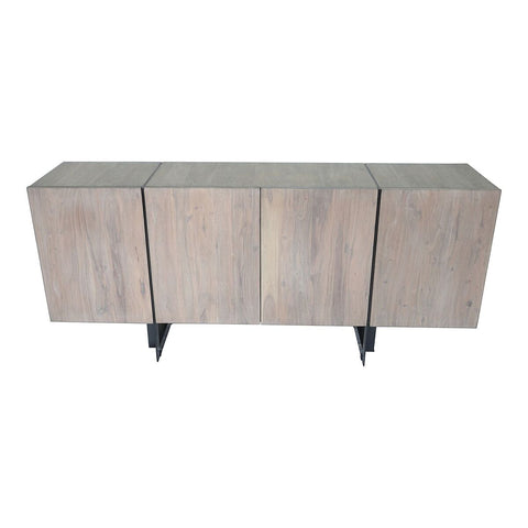 "64"" Storage Credenza in Pale Grey Acacia and Iron"