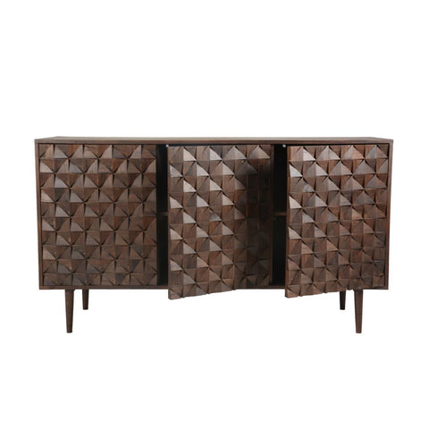 "58"" Solid Sheesham Wood Credenza with Unique Patterned Front"