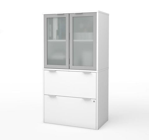 Modern File Cabinet with Hutch in White