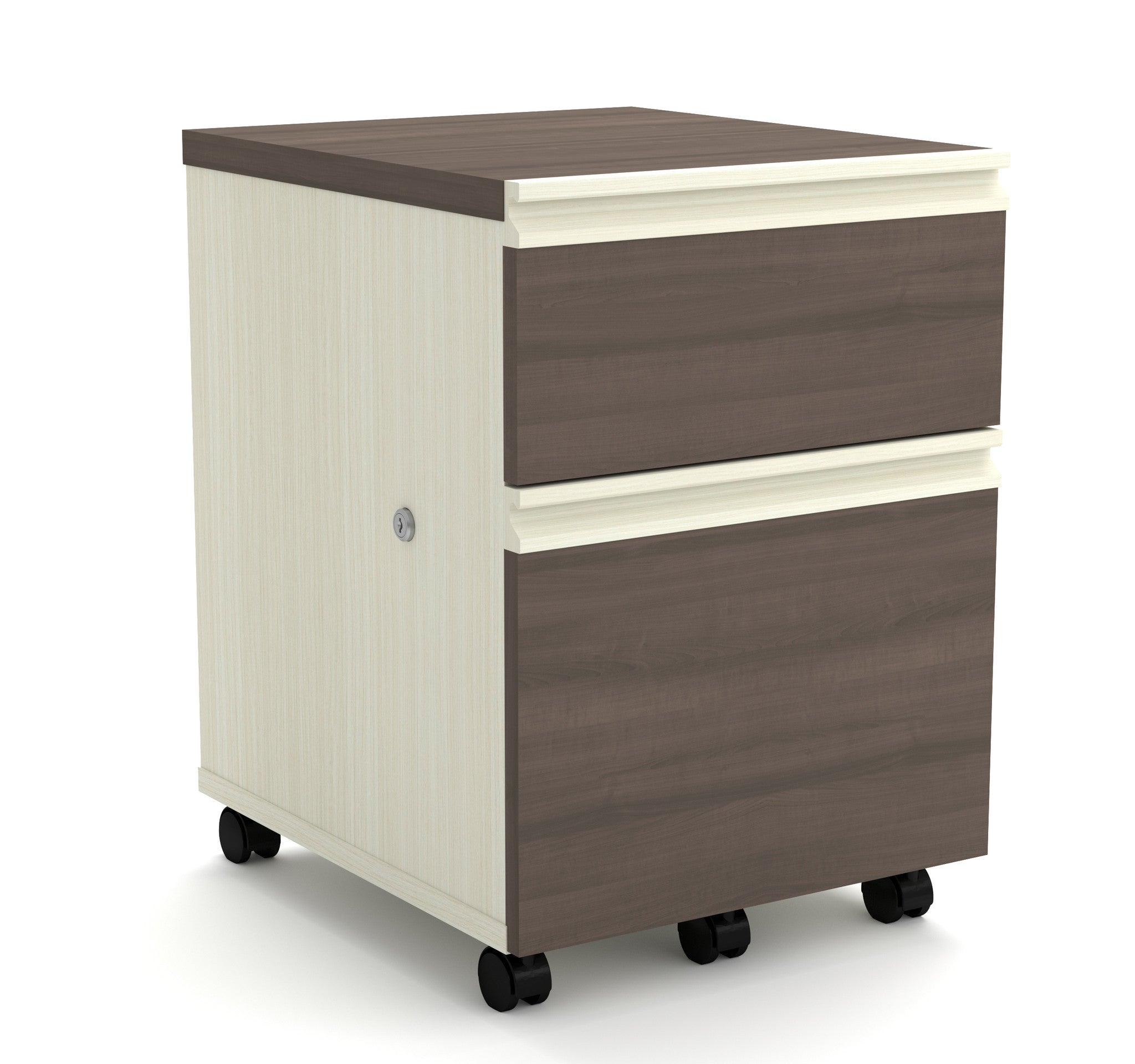 Locking Mobile File Cabinet in White Chocolate & Antigua