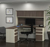 Modern L-shaped Desk with Hutch in White Chocolate & Antigua