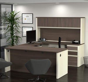 U-shaped Desk and Hutch in White Chocolate & Antigua