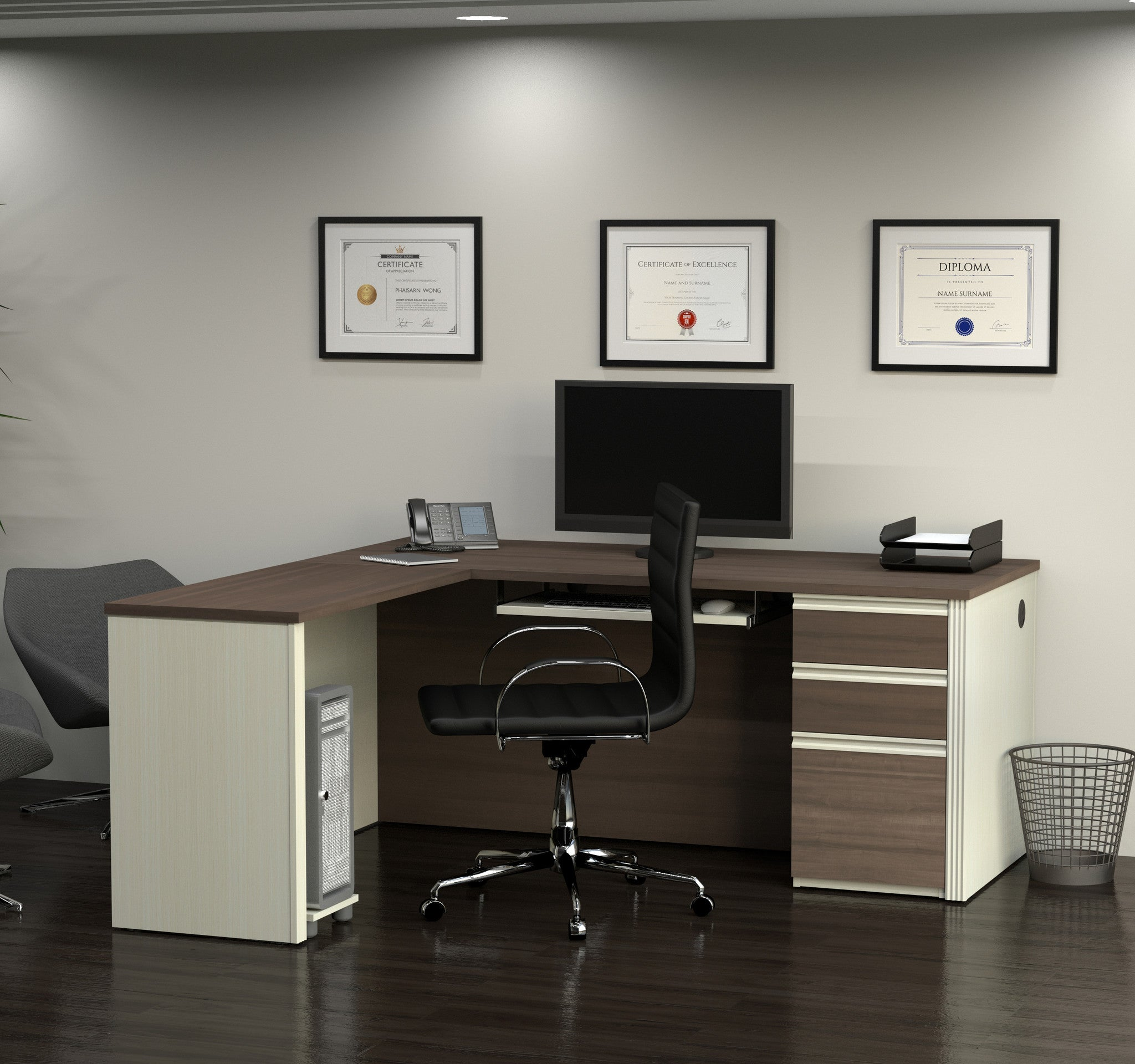 corner wooden with white specific storage desk drawers of office bined and