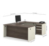 White Chocolate & Antigua Modern U-shaped Desk