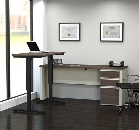White Chocolate & Antigua Office Desk with Included Sit-Stand Desk